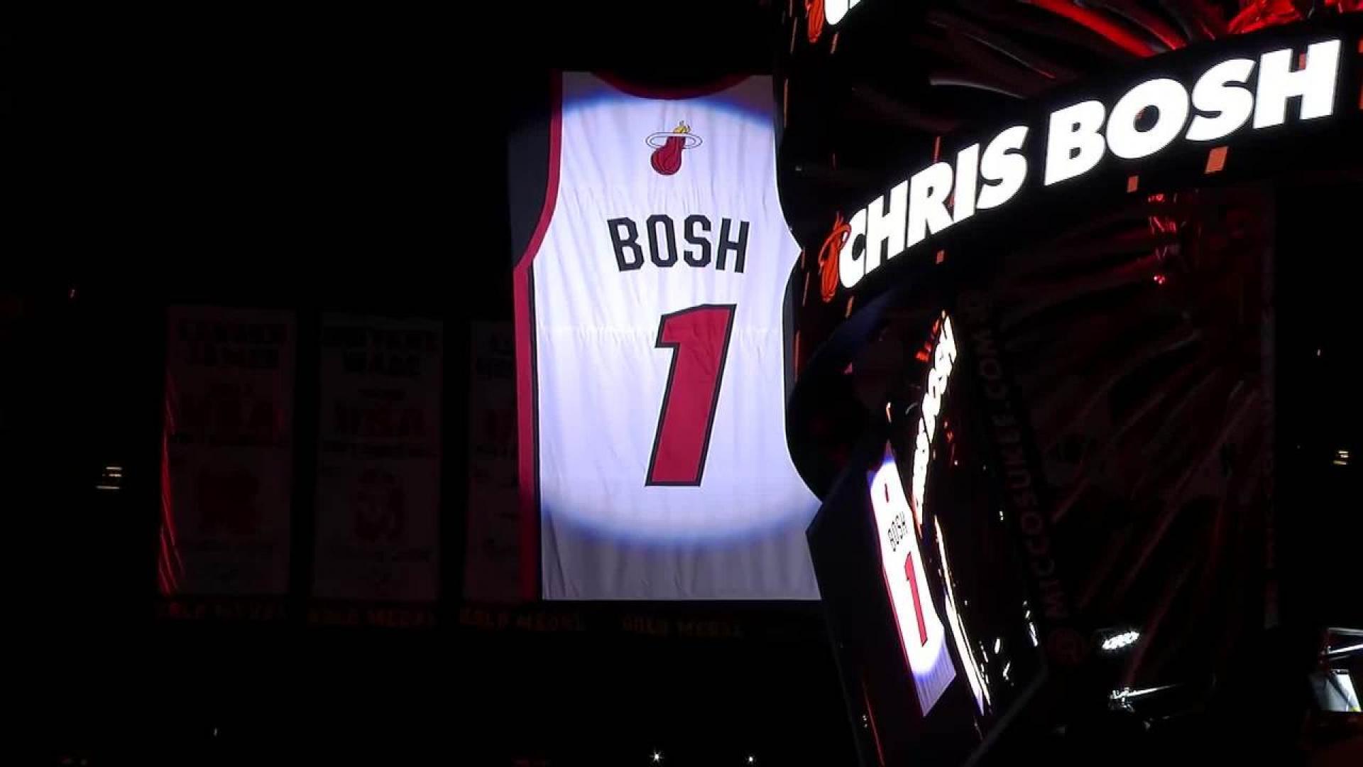 Heat raise Chris Bosh's No. 1 jersey to rafters