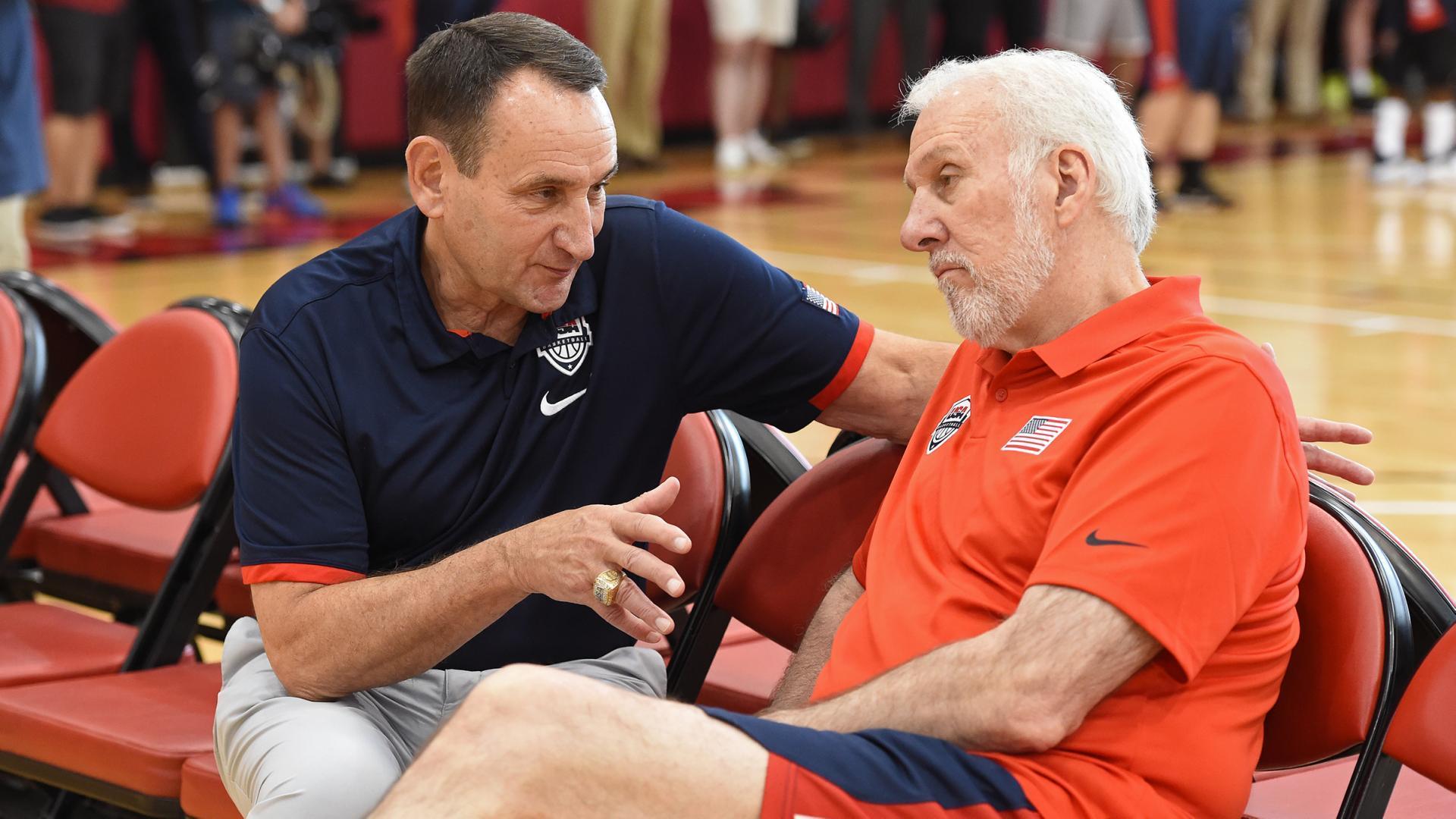 Special guest: Krzyzewski stops by USA Basketball practice