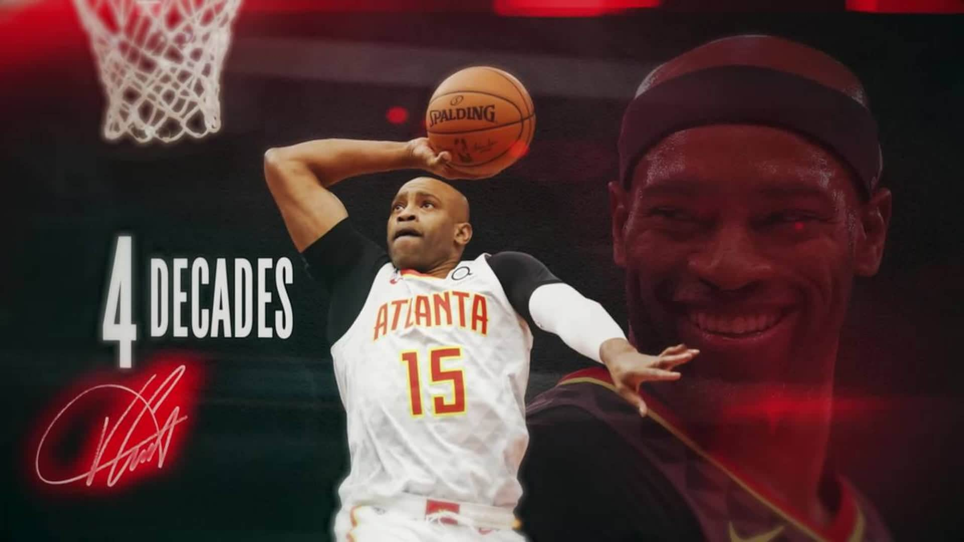 Vince Carter becomes first player in NBA history to appear in four different decades