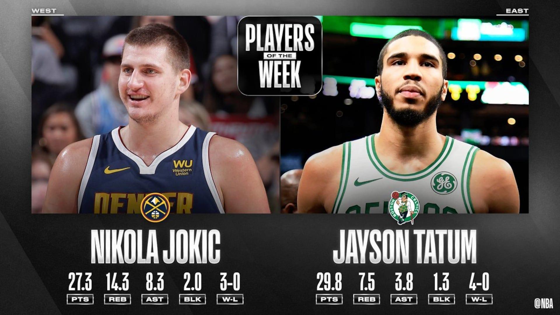 Nikola Jokic, Jayson Tatum named NBA Players of the Week