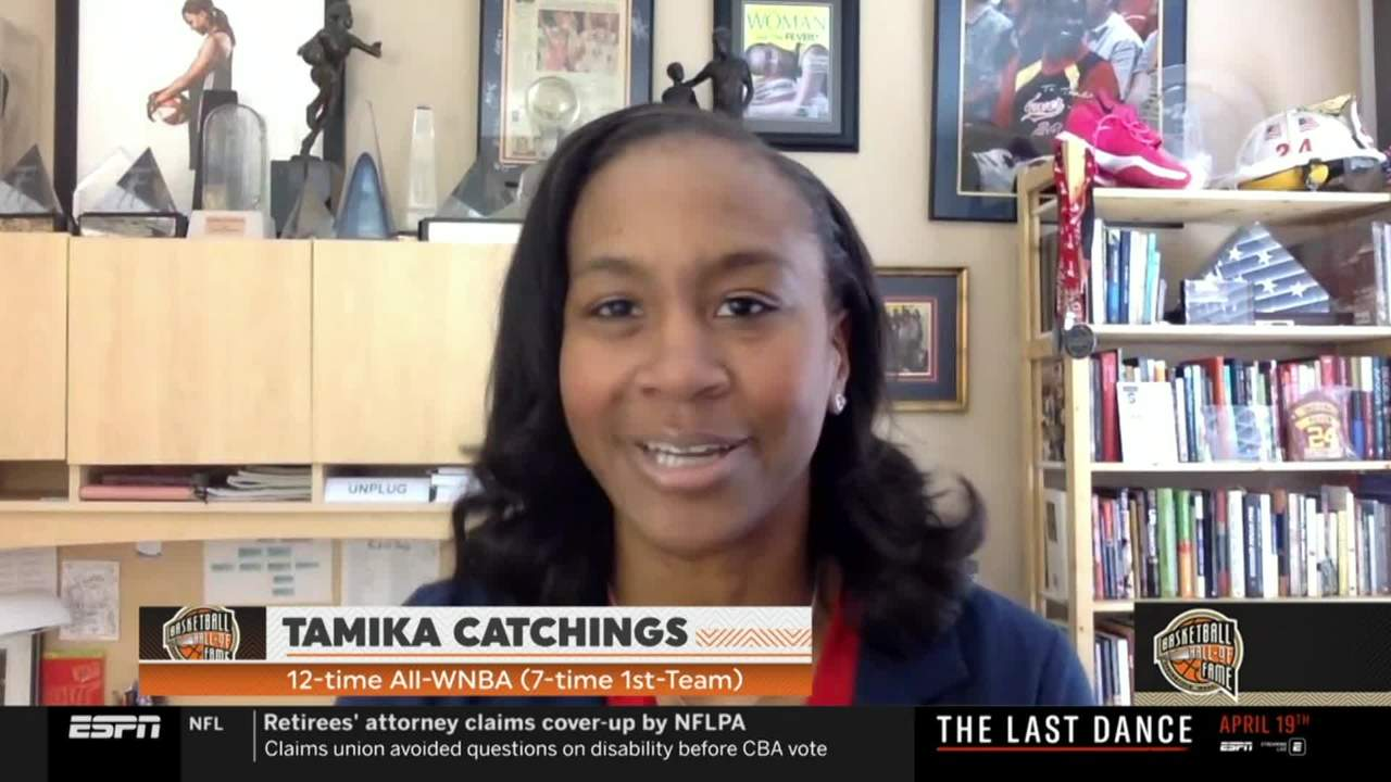 Tamika Catchings reacts to being named to the Basketball Hall of Fame
