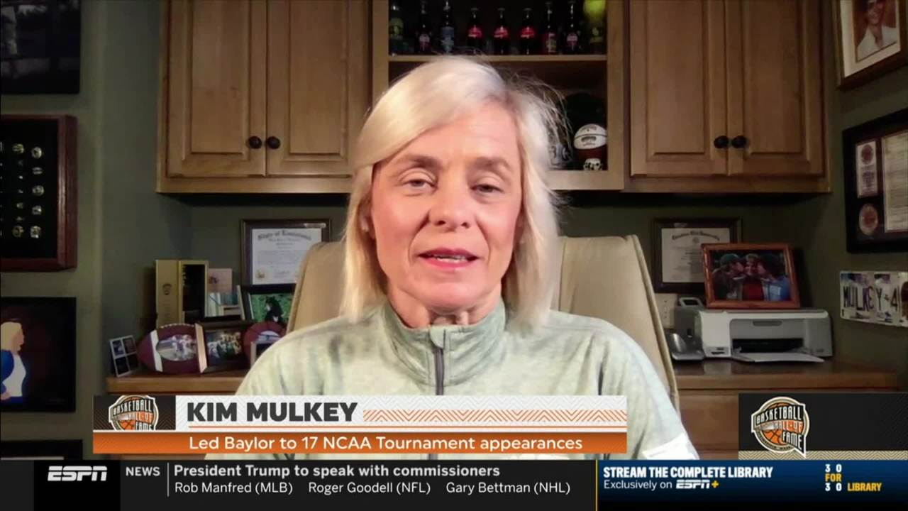 Kim Mulkey reacts to joining the Basketball Hall of Fame.