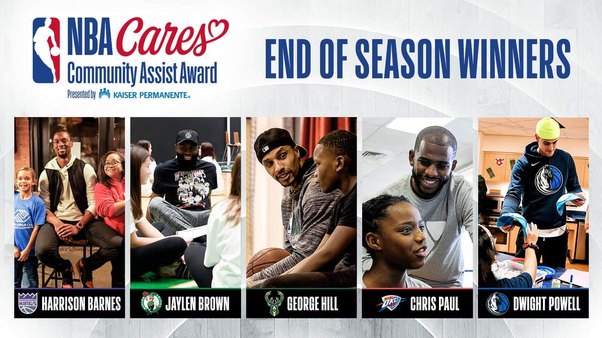 Harrison Barnes, Jaylen Brown, George Hill, Chris Paul and Dwight Powell named recipients of 2019-20 NBA Cares Community Assist Award presented by Kaiser Permanente
