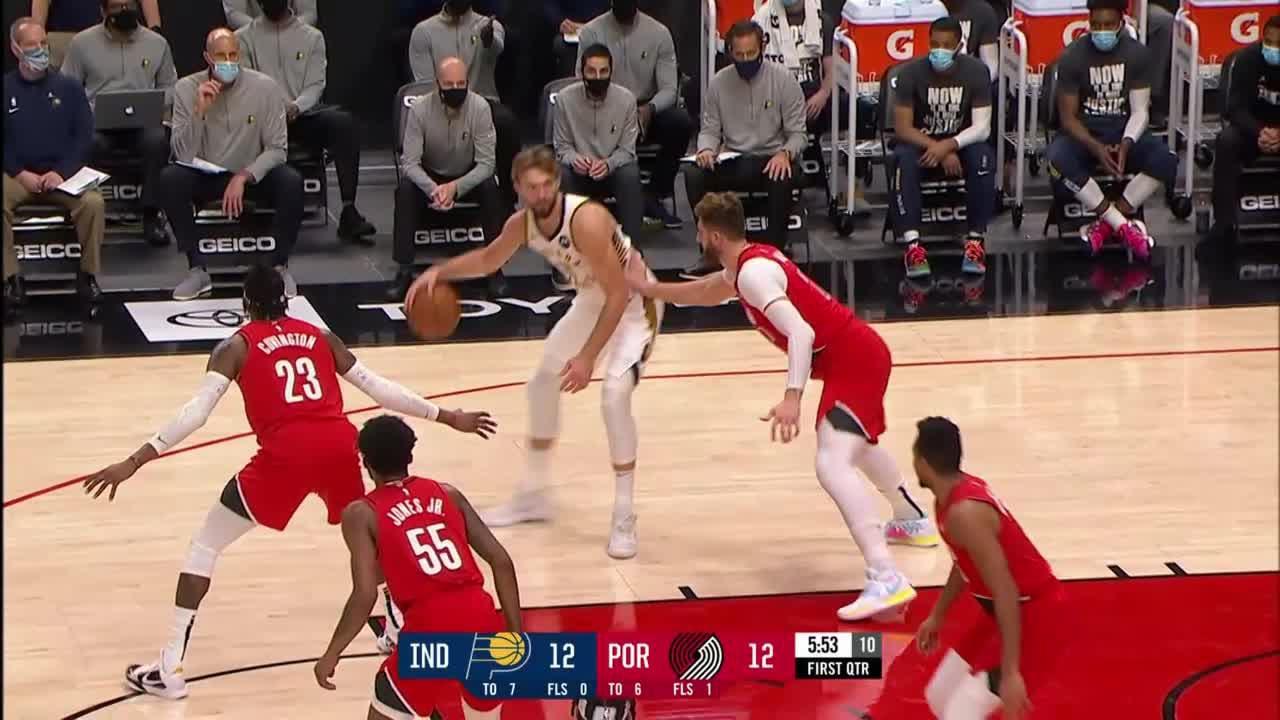 Myles Turner Posts 11 points & 10 rebounds vs. Portland Trail Blazers
