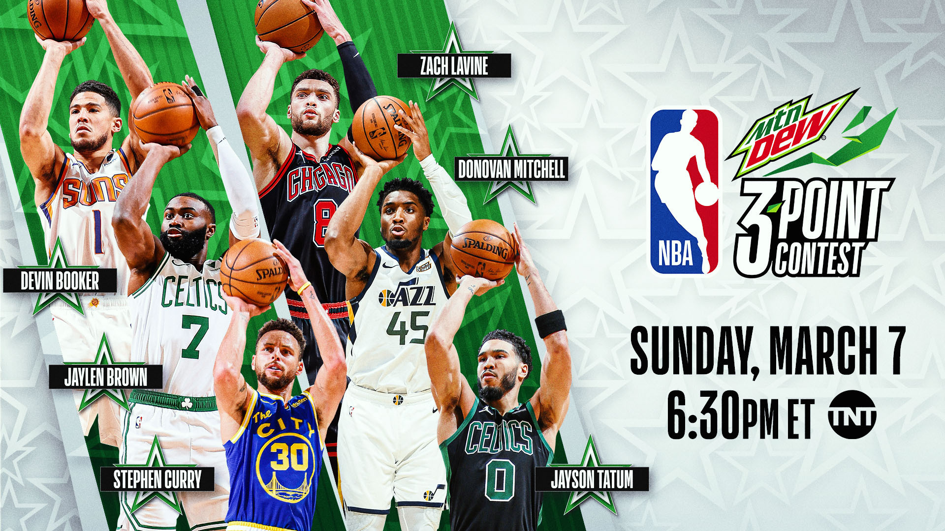 Past champions Devin Booker and Stephen Curry lead six NBA All-Stars in 2021 MTN DEW 3-Point Contest