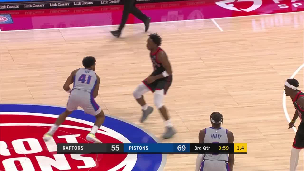 Saddiq Bey knocks it down as the clock expires
