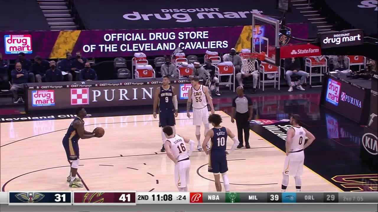 Zion Williamson with 16 Points in the 2nd Quarter vs. Cleveland Cavaliers