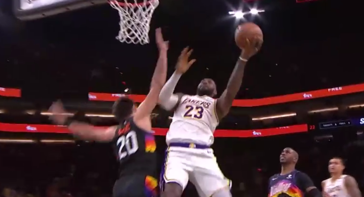 LeBron James converts the Caruso steal to a layup finish