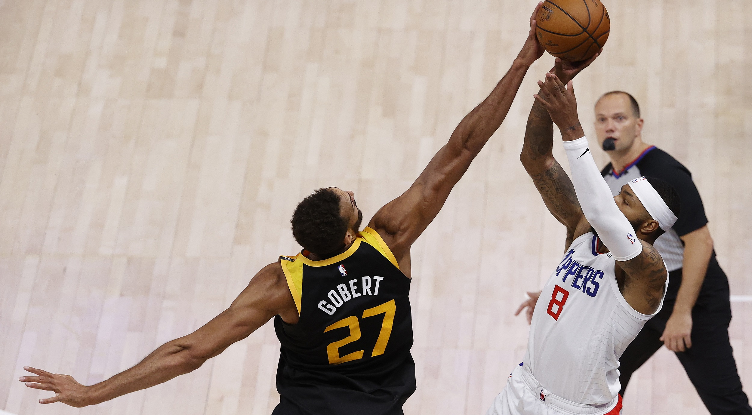 Rudy Gobert with one of the day's best blocks