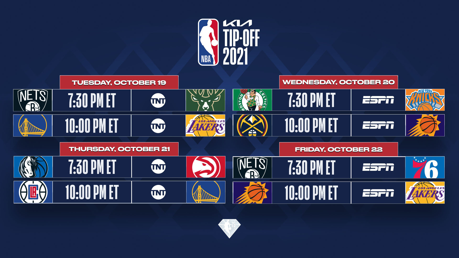 NBA reveals Kia NBA Tip-Off and Christmas Day schedules