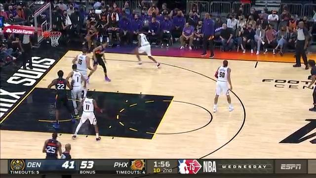 Mikal Bridges cuts the baseline for the easy dunk