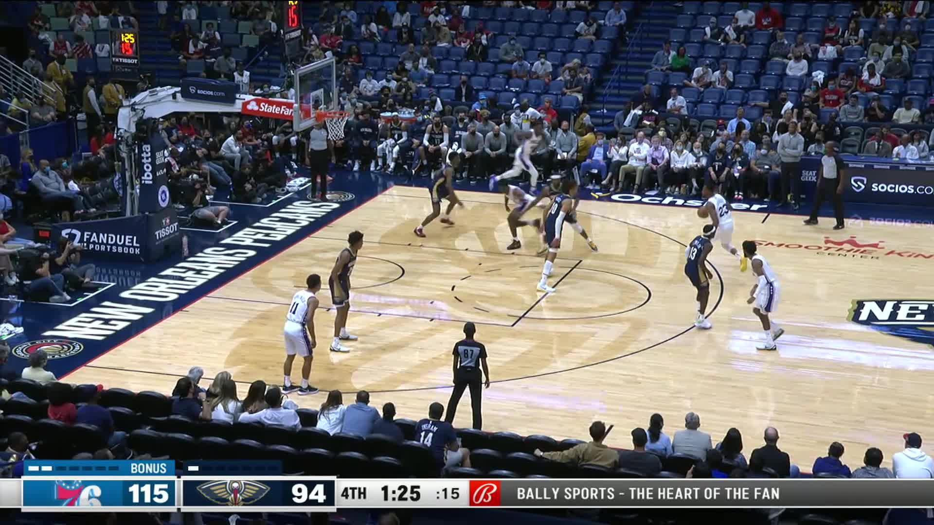 Trey Murphy III bangs home the trifecta for his first NBA points