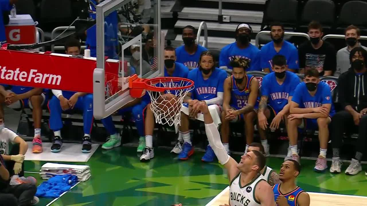Brook Lopez with one of the day's best dunks